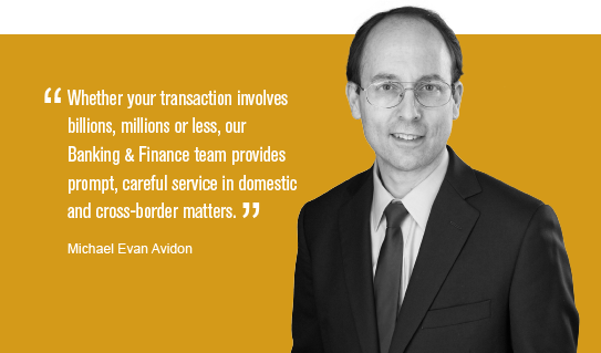 """Whether your transaction involves billions, millions or less, our Banking & Finance team provides prompt, careful service in domestic and cross-border matter."" Michael Evan Avidon"